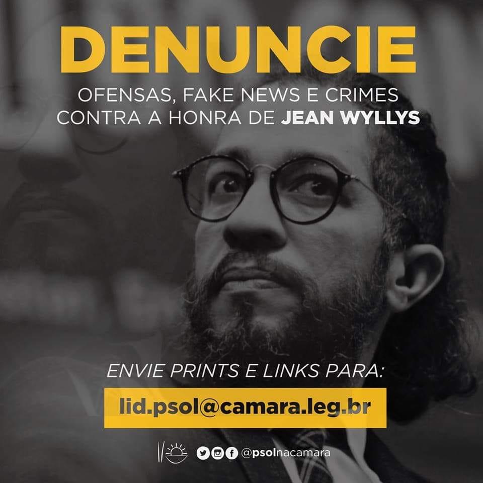 Denuncie mentiras e crimes de ódio contra JEAN WYLLYS
