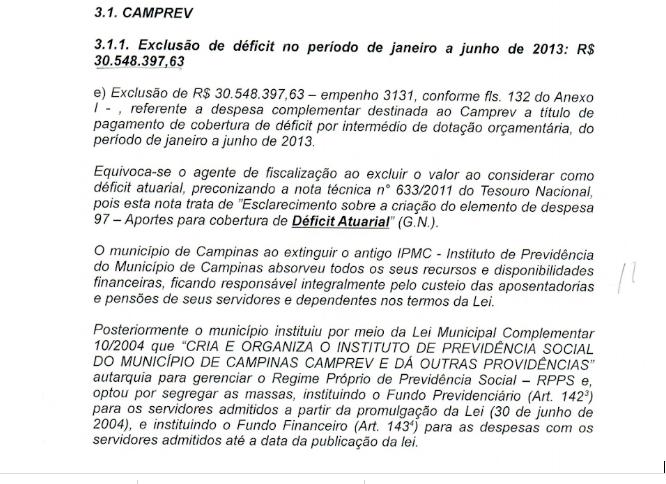 """Ausência de comprovação sobre o """"déficit do Camprev"""""""
